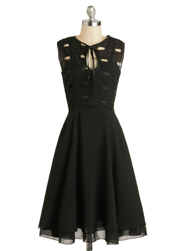 Mingle In the Moonlight Dress - Sheer, Long, Black, Solid, Cutout, Party, A-line, Sleeveless, Crew, Cocktail