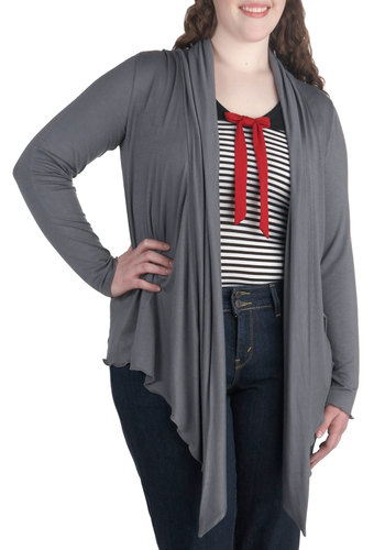 Fireside Flutter Cardigan in Slate - Plus Size - Jersey, Grey, Solid, Casual, Minimal, Long Sleeve, Variation, Travel, Fall, Exclusives
