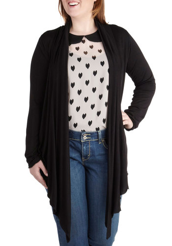 Fireside Flutter Cardigan in Black - Plus Size - Black, Solid, Casual, Minimal, Long Sleeve, Variation, Travel, Fall, Exclusives