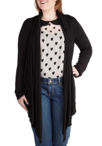 Fireside Flutter Cardigan in Black - Plus Size