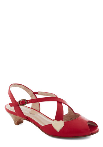 Embrace the Charm Heel - Red, White, Solid, Peep Toe, Slingback, Low, Leather, Party, Daytime Party, Vintage Inspired, Valentine's