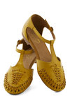 Cayenne Sandal by Seychelles - Yellow, Solid, Woven, Flat, Leather, Spring, Variation