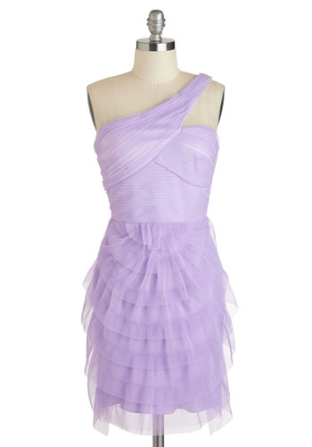Happily Ever Lavender Dress - Purple, Solid, Pleats, Ruffles, One Shoulder, Mid-length, Prom, Wedding, Cocktail, Bridesmaid, Mini, Sweetheart