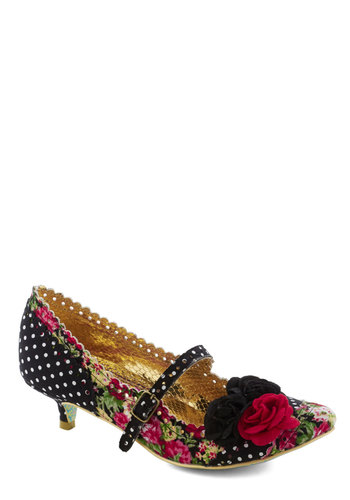 Doll or Nothing Heel by Irregular Choice - Black, Red, Polka Dots, Floral, Flower, Low, Party, Mary Jane