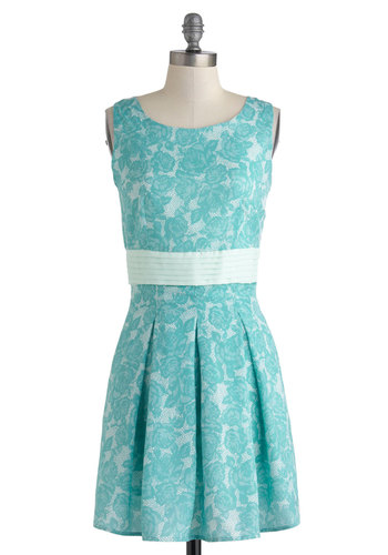 Poised in Turquoise Dress - Mid-length, Blue, Floral, Pleats, Party, A-line, Sleeveless, Scoop, Daytime Party, Graduation, Summer