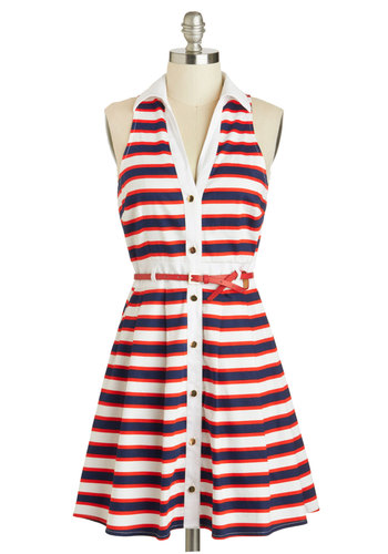 Ring-a-Ding Dinghy Dress - Nautical, Cotton, Mid-length, Red, Blue, White, Stripes, Buttons, Belted, Casual, Shirt Dress, Racerback, Collared, Americana