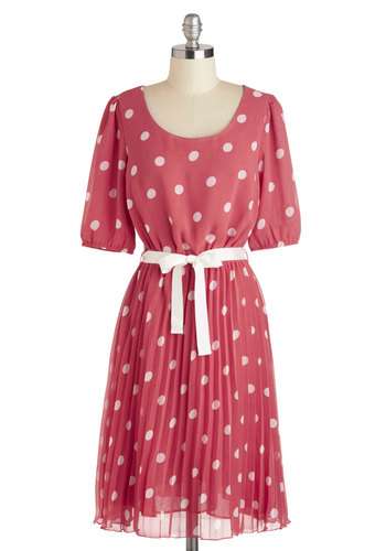 Sweet and Savor Dress - Polka Dots, Pleats, Belted, Short Sleeves, Long, Pink, White, Party, A-line, Scoop, Daytime Party, Vintage Inspired, 30s