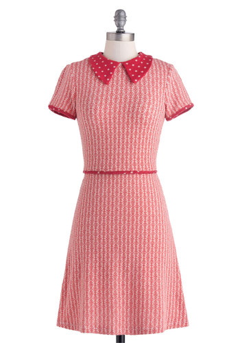 Be a Dear Dress - Cotton, Mid-length, Red, White, Print, Casual, A-line, Short Sleeves, Collared, Vintage Inspired, 50s, Folk Art