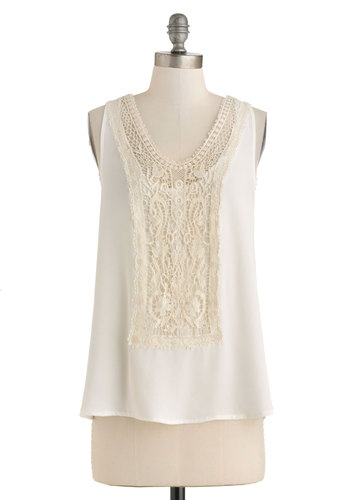 Grotto Go Top - Cream, Solid, Crochet, Casual, Boho, Racerback, Sheer, Mid-length, Work, Scoop, Summer, Travel, Woven