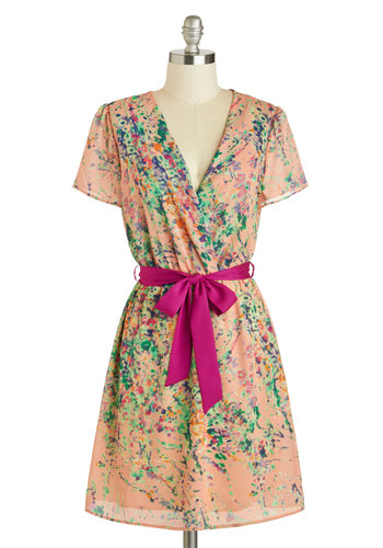 Front Porch Darling Dress - Mid-length, Multi, Belted, A-line, Short Sleeves, V Neck, Orange, Print, Daytime Party