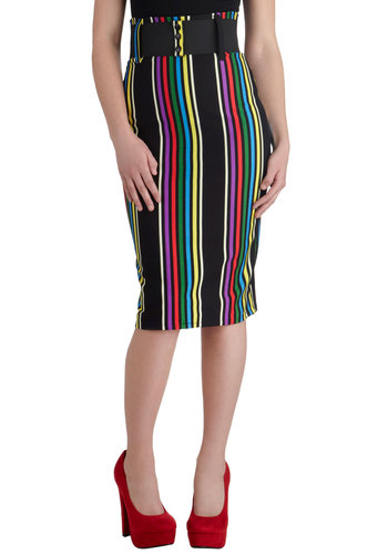 Cool Vibes Skirt in Stripes - Multi, Stripes, Pencil, Cotton, Long, Belted, Party, Work, Cocktail, Pinup, Vintage Inspired, 50s, 60s, Multi