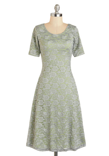 Sage Presence Dress - Long, Green, Grey, A-line, Short Sleeves, Scoop, Party, Work, Vintage Inspired, 50s, Lace