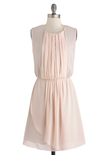 Your Two Colors Dress - Mid-length, Pink, Solid, Pleats, Party, A-line, Sleeveless, Scoop, Wedding, Bridesmaid, Graduation, Pastel