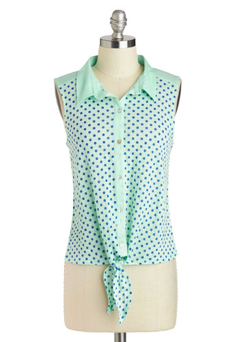 Tied Together With Style Top - Short, Mint, Blue, Polka Dots, Buttons, Casual, Sleeveless, Collared, Vintage Inspired, 50s, 60s, Button Down, Summer, Travel