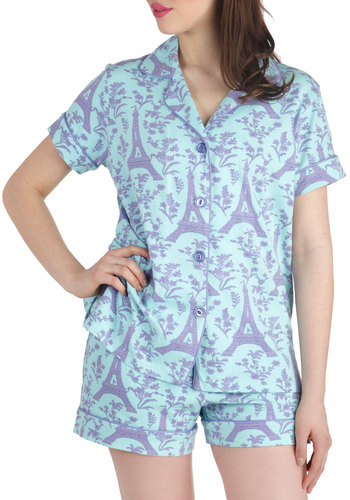 Passport to Terrace Pajamas by BedHead - Blue, Purple, Novelty Print, Pockets, Pastel, French / Victorian, Short Sleeves