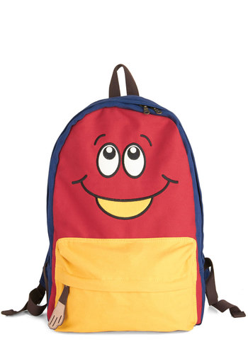 Smiles Away from Home Backpack - Red, Yellow, Blue, Multi, Print, Quirky, Kawaii, Scholastic/Collegiate, Travel