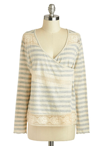 Any Day Off Cardigan - Mid-length, Cotton, Grey, White, Stripes, Lace, Casual, Wrap, Long Sleeve, Travel