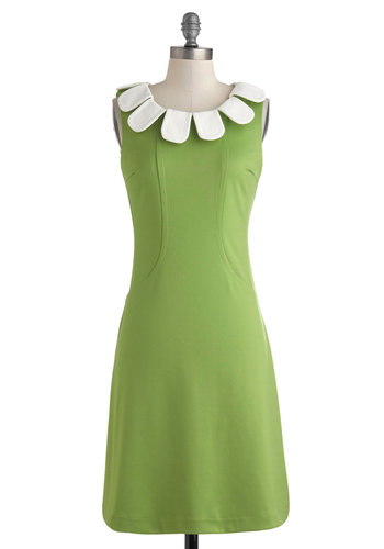 From Your Head to Your Posies Dress - Mid-length, Green, White, Party, Sheath / Shift, Sleeveless, Scoop, Vintage Inspired, 60s, Spring, Summer, Work