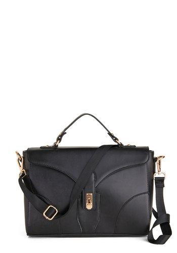 It's a Pleasure Bag in Black - Black, Gold, Solid, Work, Minimal