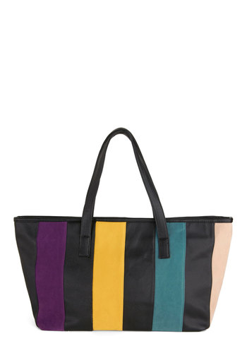 Beachfront Property Bag - Stripes, Colorblocking, Multi, Black, Casual, Beach/Resort, Faux Leather, Summer, Travel, Work
