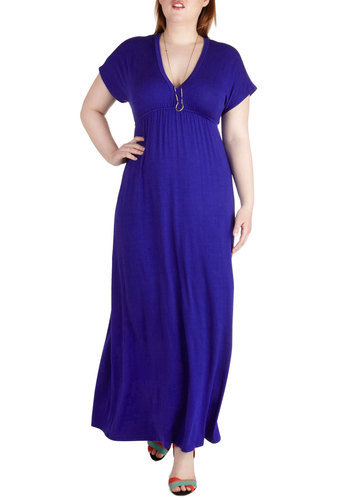 Glam On the Go Dress in Plus Size - Jersey, Blue, Solid, Casual, Maxi, Short Sleeves, V Neck, Beach/Resort, Minimal, Empire, Basic