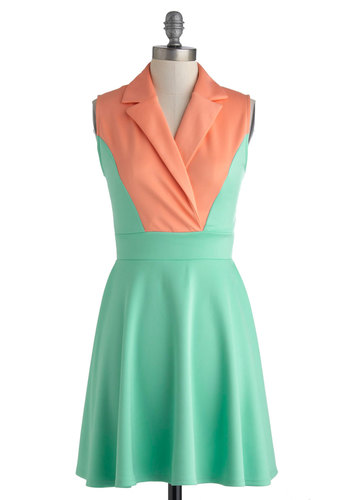 Mellow in Melon Dress - Short, Mint, Coral, Casual, A-line, Sleeveless, Collared, Solid, Work, Colorblocking, Summer
