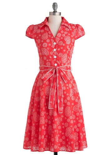 About the Architect Dress - Cotton, Long, Red, White, Buttons, Belted, Casual, Shirt Dress, Cap Sleeves, Collared, Print, Eyelet, Vintage Inspired, 40s, 50s, 60s