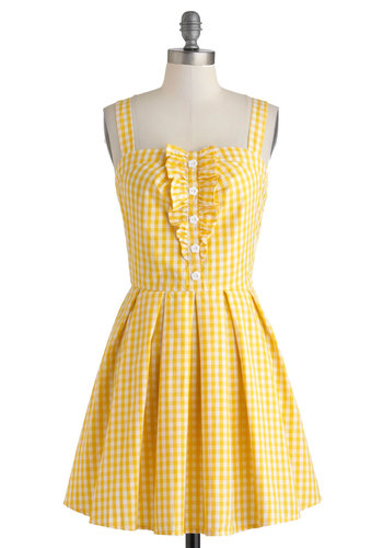 Lemonade to Order Dress - Cotton, Yellow, White, Checkered / Gingham, Buttons, Ruffles, Casual, A-line, Spaghetti Straps, Daytime Party, Vintage Inspired, Mid-length