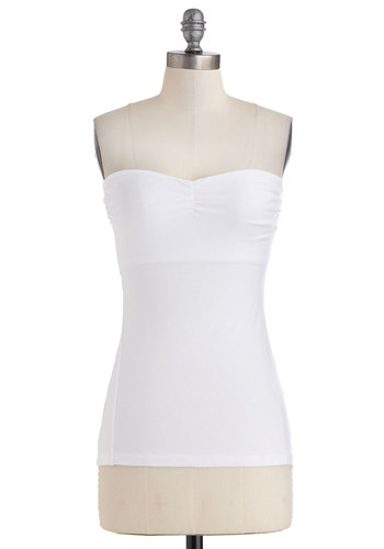 Versatile Style Top in White - Short, White, Solid, Casual, Tube, Sweetheart, Minimal, Jersey, Cotton, Variation, Summer, White, Strapless