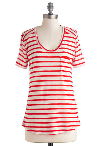 Backyard Bash Top - Mid-length, Red, White, Stripes, Pockets, Casual, Short Sleeves, Scoop, Nautical, Summer, Travel, Red, Short Sleeve