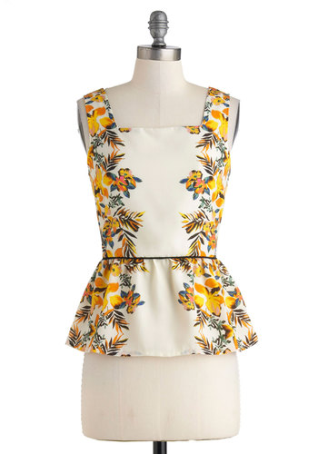 Hula La Top - Cream, Yellow, Green, Floral, Peplum, Sleeveless, Sheer, Mid-length, Exposed zipper, Summer