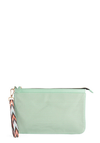 Boardwalk Bistro Clutch - Mint, Solid, Cutout, Pastel