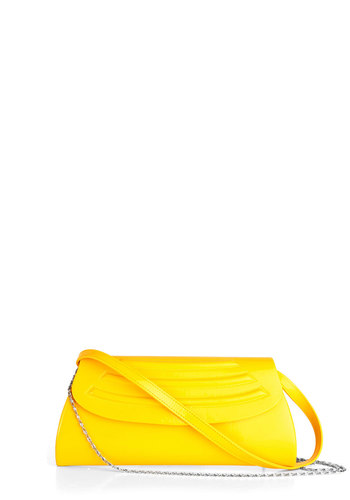 Bright Place, Bright Time Clutch - Yellow, Solid, Neon, Faux Leather