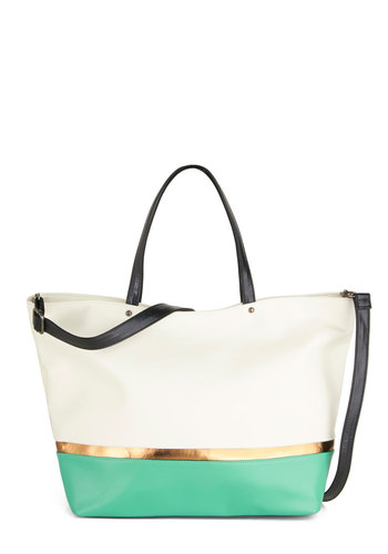 Finesse Ahead of Schedule Tote - Cream, Green, Solid, Colorblocking, Work, Travel, Scholastic/Collegiate, Beach/Resort