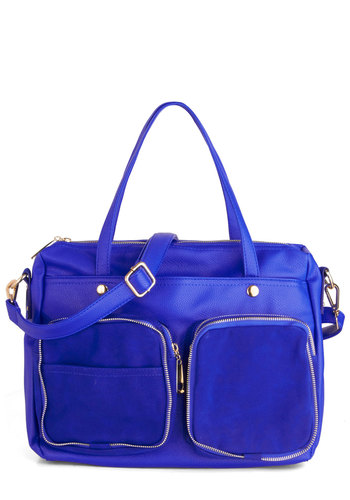 Electric Zeal Bag - Blue, Gold, Solid, Exposed zipper, Trim, Faux Leather, Statement, Work