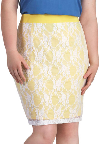 Canary Song Skirt in Plus Size by Youtheary Khmer - Yellow, White, Lace, Work, Daytime Party, Pencil