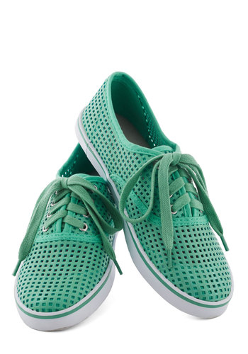 See and Be Screen Sneakers - Green, Cutout, Flat, Lace Up, Casual, Travel, Mint