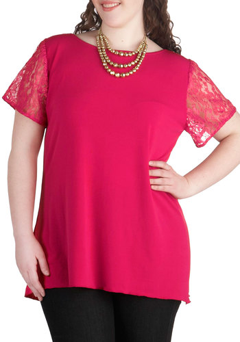 Act Your Agent Top in Plus Size by Youtheary Khmer - Sheer, Pink, Solid, Lace, Work, Short Sleeves, Party, Daytime Party, Boat