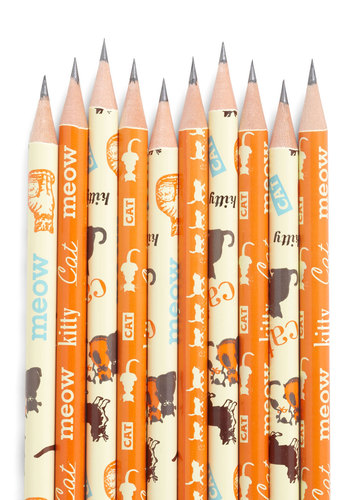 Tabby or Not Tabby Pencil Set by Cavallini & Co. - Orange, Print with Animals, Scholastic/Collegiate, Cats
