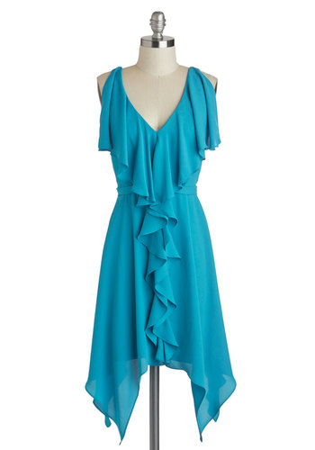 Aqua Are the Chances? Dress - Blue, Solid, Ruffles, Party, Sleeveless, Spring, V Neck, Mid-length, Belted, Wedding