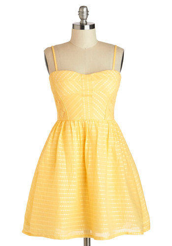 Picnic Me Up Dress - Cotton, Short, Yellow, Solid, Crochet, Fit & Flare, Spaghetti Straps, Sweetheart, Daytime Party, Summer