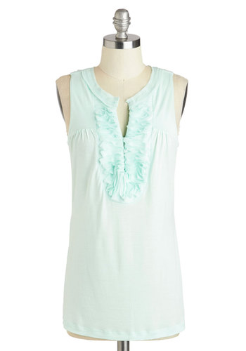 Pastel Me the Truth Top - Mid-length, Mint, Solid, Ruffles, Sleeveless, Party, Work, Daytime Party, Pastel, Sheer, Summer