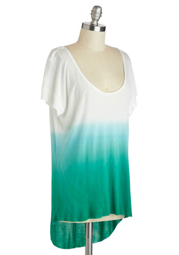 Gimme a Tint Top - Casual, Short Sleeves, High-Low Hem, Green, White, Mid-length, Ombre, Scoop, Beach/Resort, Summer
