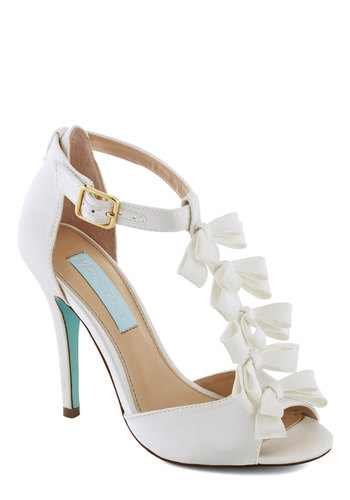 Betsey Johnson Fairy Tale Flair Heel by Betsey Johnson - Cream, Solid, Bows, Tiered, Special Occasion, Peep Toe, High, Leather, Prom, Wedding, Party, Bride, Luxe, Statement, Faux Leather