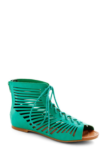 Venetian Finds Sandal - Flat, Faux Leather, Green, Solid, Cutout, Urban, Lace Up, Peep Toe, Casual, Summer