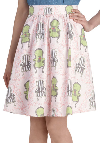 Go Your Throne Way Skirt - Pink, Green, Black, White, Casual, A-line, Print with Animals, Novelty Print, Quirky, Spring, Cotton, Woven, Mid-length