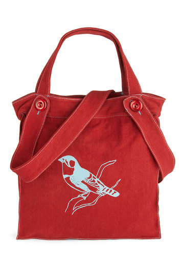 One Way Ticket Bag in Bird by Effie's Heart - Red, Blue, Print with Animals, Scholastic/Collegiate, Eco-Friendly, Cotton, Travel, Work, Top Rated