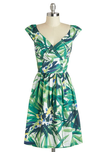 Palm Springs into Action Dress - Green, Blue, Print, Party, A-line, Sleeveless, Spring, Mid-length, V Neck, Pockets, Wedding, Beach/Resort, Work, Graduation, White, Multi, Press Placement