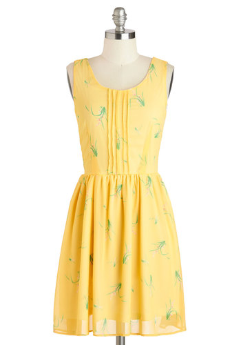 Granada Care in the World Dress - Yellow, Green, Floral, Casual, A-line, Tank top (2 thick straps), Scoop, Spring, Mid-length, Summer