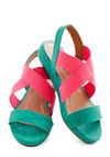 You're So Beautiful to Miami Sandal - Blue, Pink, Solid, Neon, Colorblocking, Low, Casual, Beach/Resort, 80s, Summer